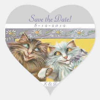 Spara det förälskade bröllop för daterakatter hjärtformat klistermärke