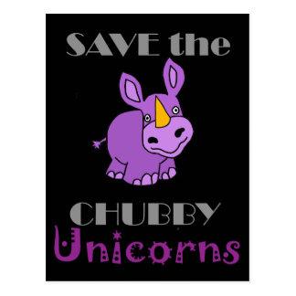 Spara det knubbiga Unicornsroligtkonstverk Vykort