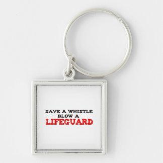 Spara en vissling, blåsa en livräddare fyrkantig silverfärgad nyckelring
