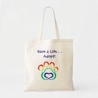 Spara ett liv, adoptera budget tygkasse