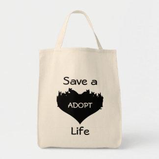 Spara ett liv adopterar kattshoppingtoto mat tygkasse