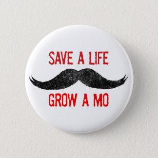 Spara ett liv - väx en Mo - cancermedvetenheten Standard Knapp Rund 5.7 Cm