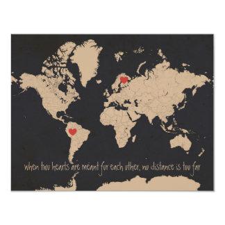 Spara för anpassadevärldskarta datera 10,8 x 14 cm inbjudningskort