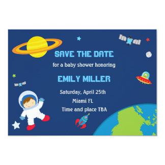 Spara för astronautplanetbaby shower datera 12,7 x 17,8 cm inbjudningskort