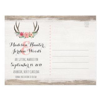 Spara för bröllop | för blom- horn på kronhjort vykort
