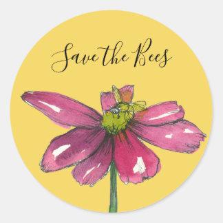 Spara för daisy för honungbi purpurfärgad bina runt klistermärke