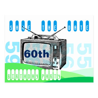 Spara för födelsedag för vintageTV 60th Vykort