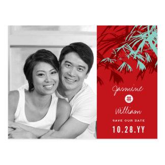 Spara för foto för kinesisk bröllopbambu modern vykort