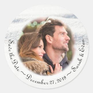 Spara för foto för vinterbröllopsnö datera runt klistermärke