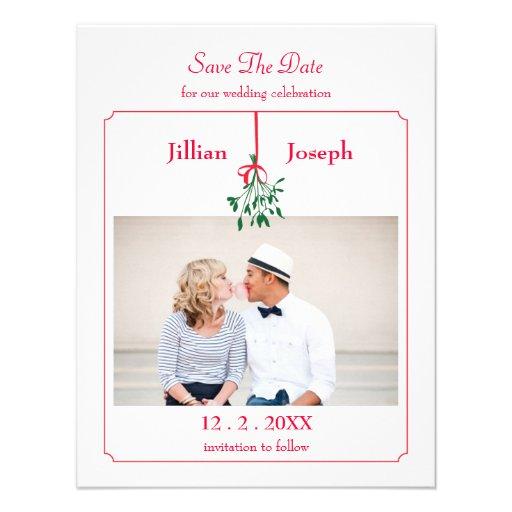 Spara för julMistletoefoto daterakortet Kort För Inbjudningar
