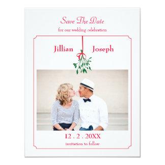 Spara för julMistletoefoto daterakortet 10,8 X 14 Cm Inbjudningskort