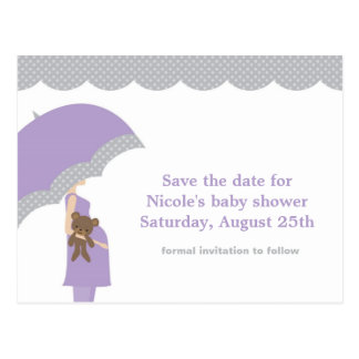 Spara för lavendelparaplybaby shower datera vykort