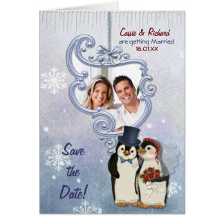 Spara för pingvinBröllopfoto datera Hälsningskort