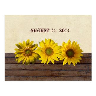 Spara för solros för vintageträgult datera vykort