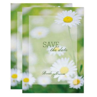 SPARA för sommar för daisydaisyblomma blom- datera 12,7 X 17,8 Cm Inbjudningskort
