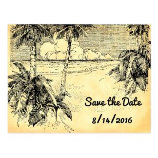 Spara för vintagestranden för datera den vykort