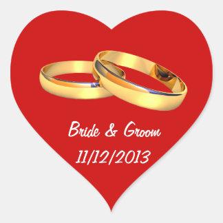 Spara hjärtan för dateraguldbröllopringar hjärtformat klistermärke