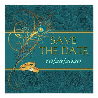 Spara inbjudan för bröllop för fyrkantigt 13,3 cm inbjudningskort