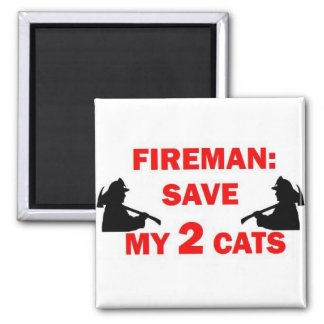 Spara min brandman för 2 katter magnet