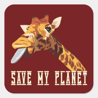 Spara min planetgiraff fyrkantigt klistermärke