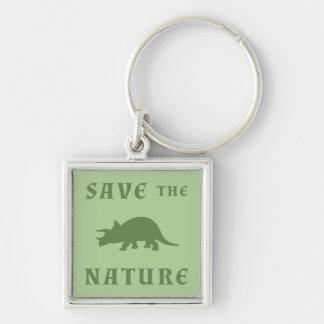Spara naturtriceratopsen fyrkantig silverfärgad nyckelring