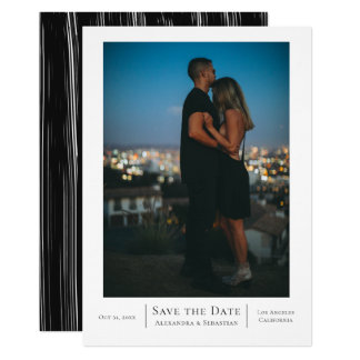 Spara personligen för bröllop för daterasvartvit 12,7 x 17,8 cm inbjudningskort