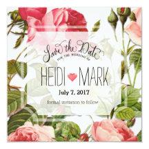 Spara rosa ros för romantik för fyrkantigt 13,3 cm inbjudningskort
