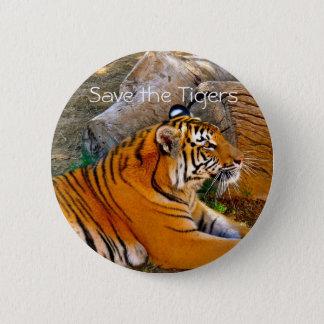 Spara tigrarna som emblem knäppas standard knapp rund 5.7 cm