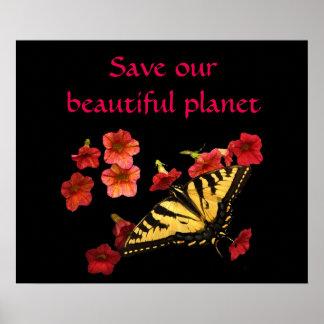 Spara vår planetfjäril på den röda blommaaffischen poster