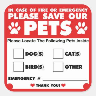 Spara våra husdjur - nöd- klistermärkear/dekal fyrkantigt klistermärke