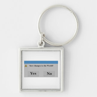 Spara världen Keychain Fyrkantig Silverfärgad Nyckelring