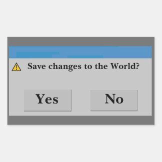 Spara världsklistermärken rektangulärt klistermärke