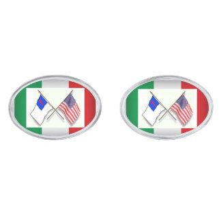 Sparad italiensk amerikan - 3 flaggor silverpläterade manschetterknappar