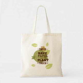 Sparan skyler över brister, sparar träd budget tygkasse