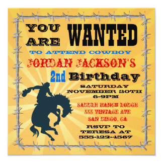 Sparka bakut BroncoCowboyfödelsedagsfesten Fyrkantigt 13,3 Cm Inbjudningskort