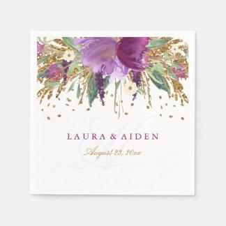 Sparkling Amethyst bröllopservett för blom- Pappersservett