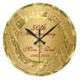 Sparkling bröllopsdag för guld 50th stor klocka