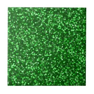 Sparkling grönt glitter liten kakelplatta