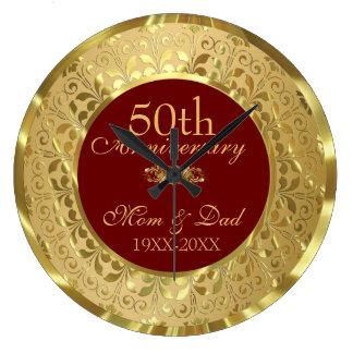 Sparkling guld- bröllopsdag för damast 50th stor klocka