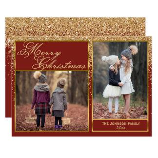 Sparkling guld- kort för glittergod julfoto 12,7 x 17,8 cm inbjudningskort