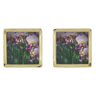 Sparkling Irises Guldpläterade Manschetterknappar
