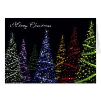 Sparkling julgranar hälsningskort