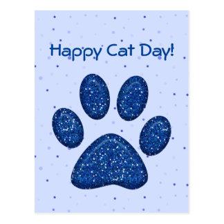 sparkling katttasstryck - blått vykort