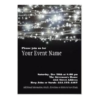 Sparkling svartvit partyinbjudan för stjärnor 12,7 x 17,8 cm inbjudningskort