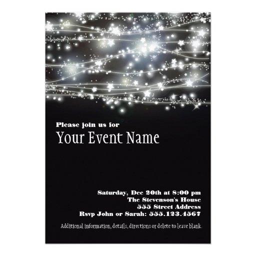 Sparkling svartvit partyinbjudan för stjärnor personliga tillkännagivanden