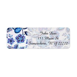Sparkly blom- Tapestry i blått och lilor Returadress Etikett