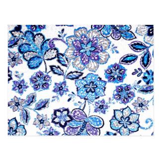 Sparkly blom- Tapestry i blått och lilor Vykort