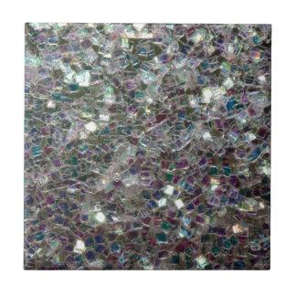 Sparkly färgglad silvermosaik liten kakelplatta