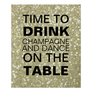 Sparkly guld- champagnepartyaffisch poster