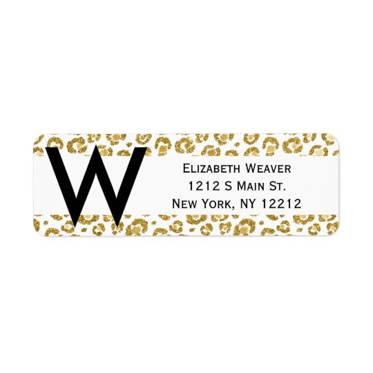 Sparkly guld- Leopard för glamorös Faux Returadress Etikett